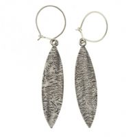 Leaf shaped earrings, handmade, textured pattern